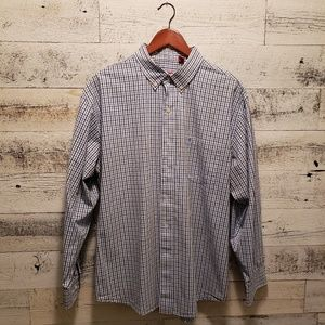 XL Izod  Blue, White and Gray Plaid Button Down